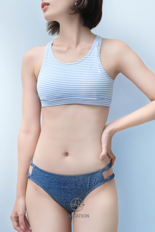 Combo Bikini LMcation - Áo Đa Năng Jane Sọc Xanh Trắng & Quần Olivia Màu Jean