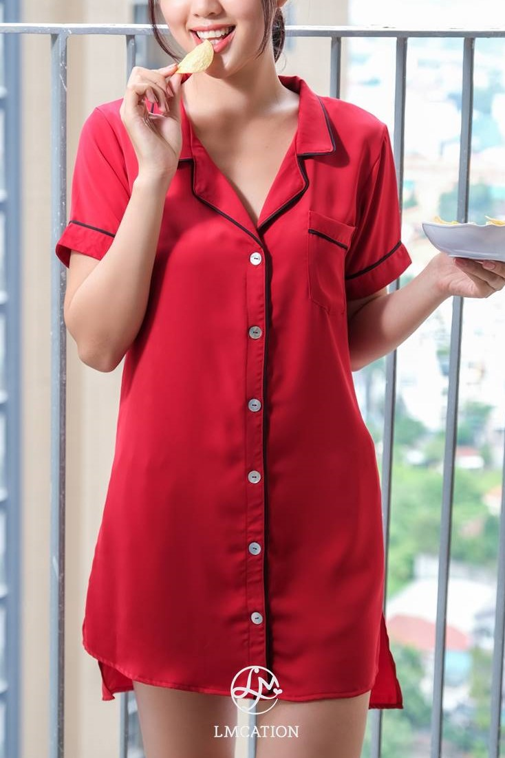 LMcation Molly Pajama Dress - Rouge