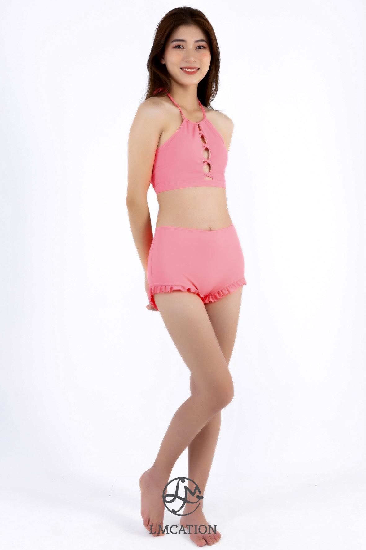 Bikini Combo - LMcation Lola Bikini Top & Estella Swim Shorts - Coral Pink