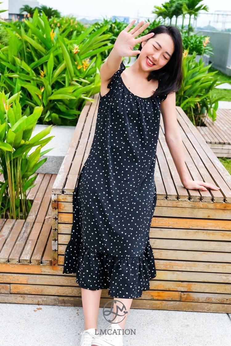 LMcation Susie Maxi Dress - Black Heart Dots