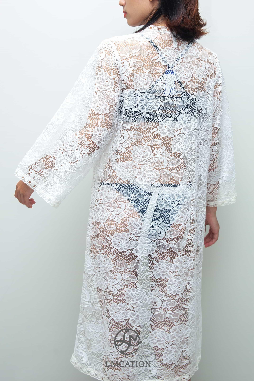 LMcation Michelle Kimono - Blanc Stretchy Lace
