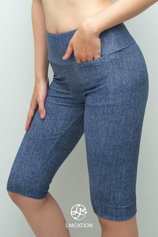 LMcation Rita Biker Shorts - Blue Denim