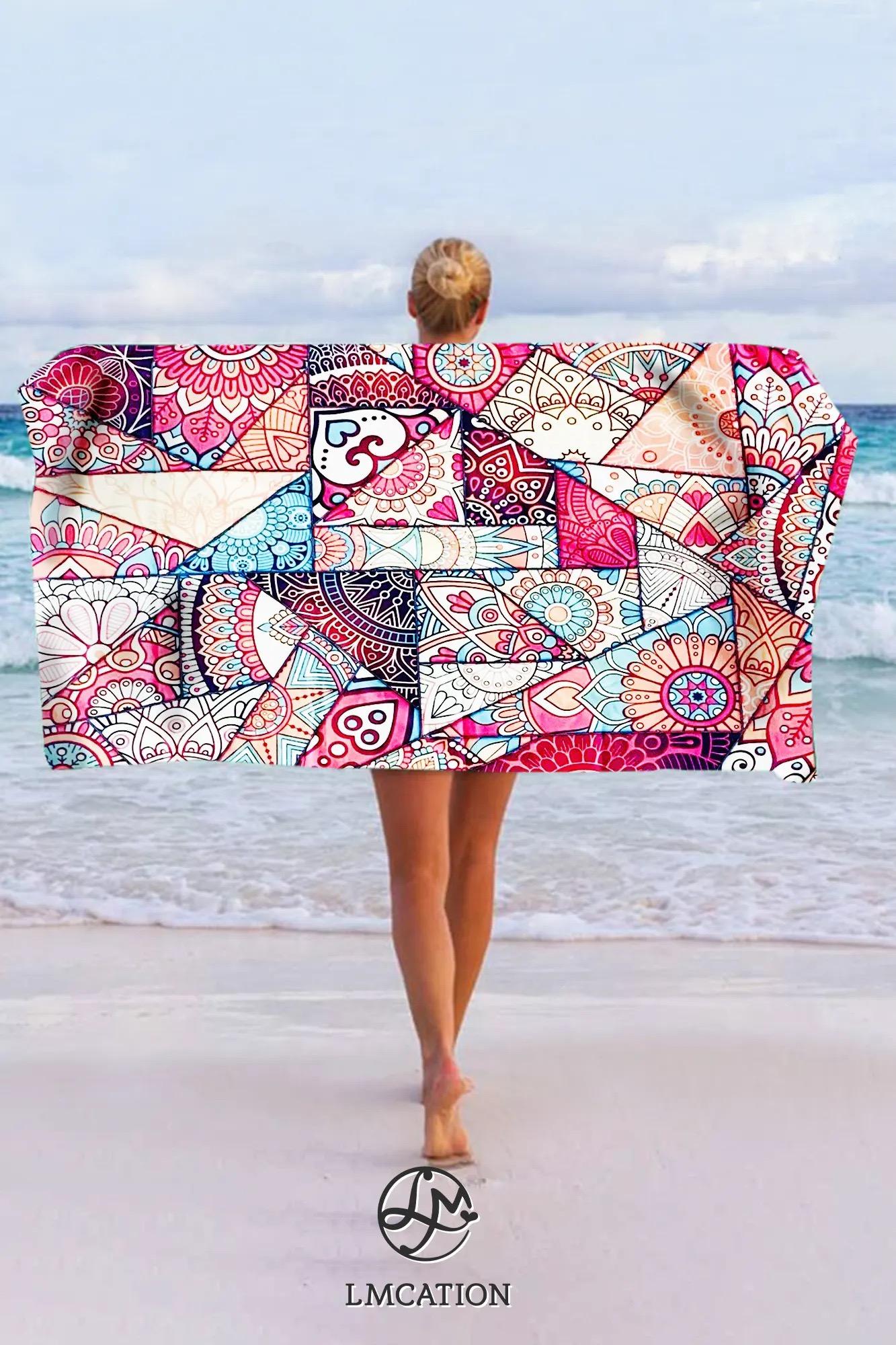 LMcation Staycation Beach Towel - Bohemian Pink
